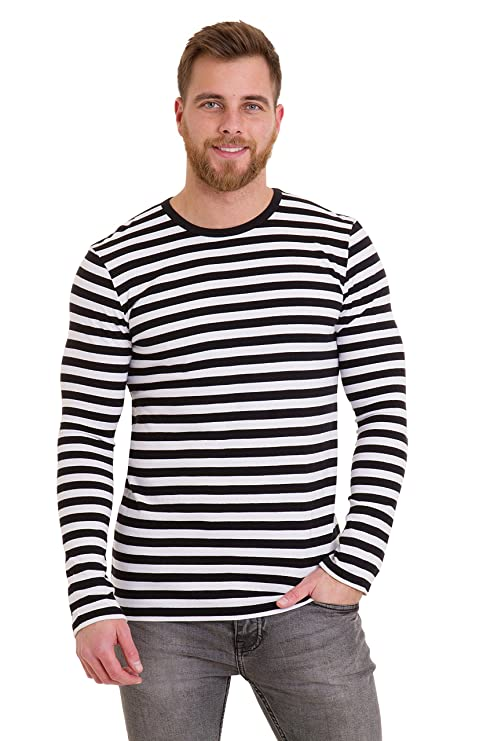 Victorian Men's Shirts- Wingtip, Gambler, Bib, Collarless Mens 60s Retro Black & White Striped Long Sleeve T Shirt $19.95 AT vintagedancer.com