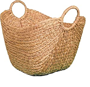 BirdRock Home Water Hyacinth Laundry Baskets (Natural) - One Basket Included - Hand Woven