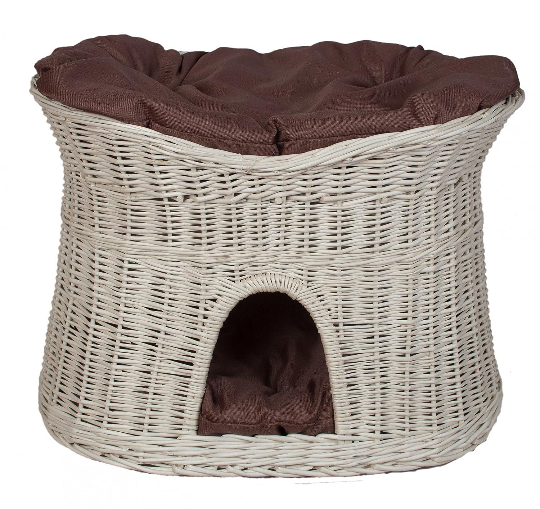 Floranica® - L ou XL Clair panier en osier pour chat avec coussin, Coussin:clair coussin, Dimension:L (61x42x48 cm) Pemicont