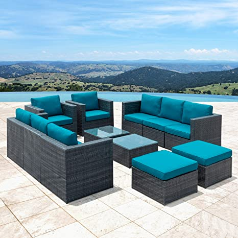5a2ae8c2b90 Image Unavailable. Image not available for. Color  12-Piece Dark Grey  Wicker Patio Furniture Set with Glass Table Top