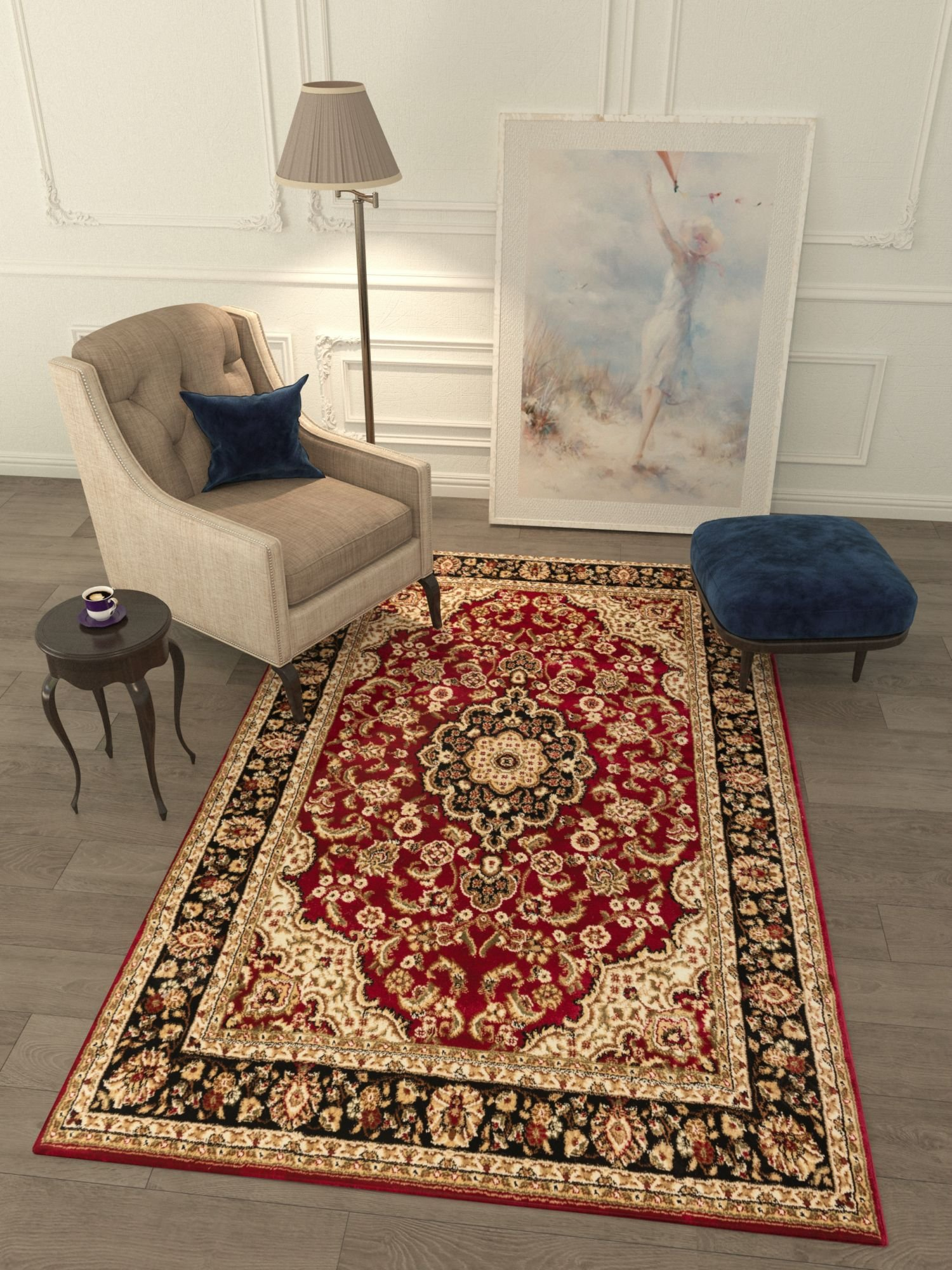 Persian Classic Red Burgundy 6'7'' x 9'6'' Area Rug Oriental Floral Motif Detailed Classic Pattern Antique Living Dining Room Bedroom Hallway Office Carpet Easy Clean Traditional Soft Plush Quality