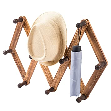Amazon MyGift 40 Hook Torched Wood Wall Mounted Expandable Unique Wooden Peg Coat Rack