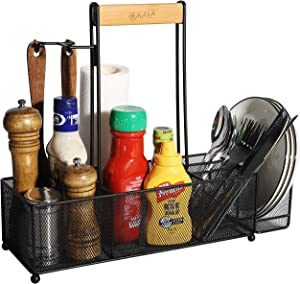 OMAIA Multifunctional Caddy - Steel Organizer with Wood Handle, Towel Holder, Hooks - Storage for Household Cleaning Supplies and Tools - Carrier for Dining Plates & Utensil Set, Kitchen Condiments