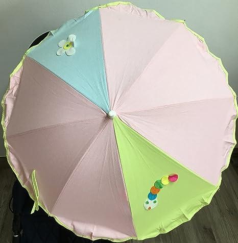 Sombrilla para silla de paseo + flexo universal. Parasol gusano rosa