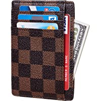 Rita Messi Checkered Card Holder Minimalist Front Pocket Leather Wallet for Men & Women Victoria