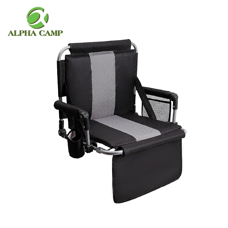 アルファCamp Stadium Seat Chair with Arms and Side Pocke B0786ZVQ46 ブラックアンドグレー ブラックアンドグレー