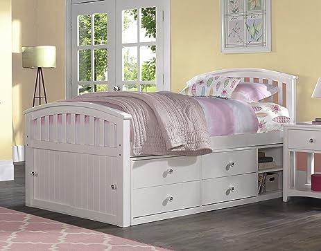 NE Kids Barrett Captainu0027s Bed, Full, White Finish