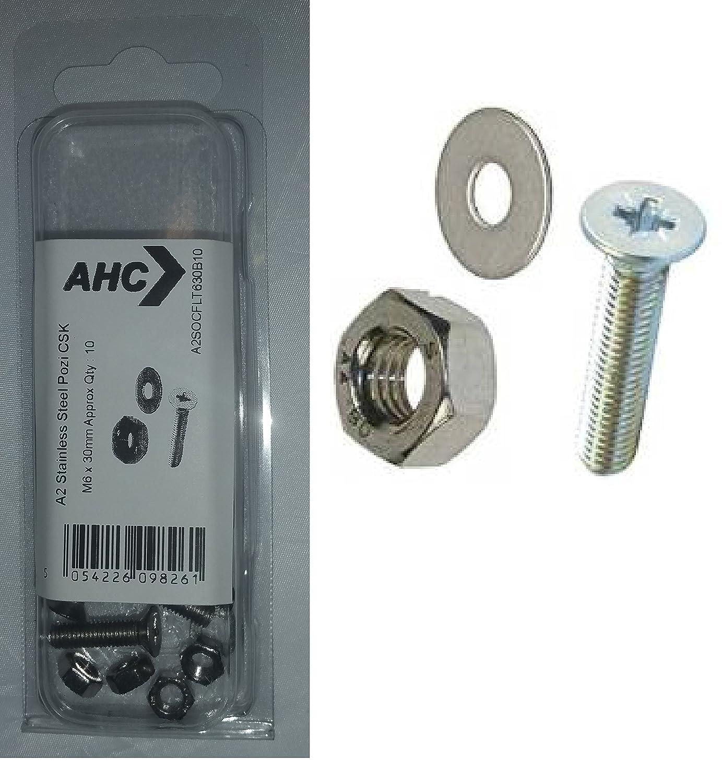 blister 50 unidades AHC A2POZCSK38B50 m 3 x 8 mm acero inoxidable A2 con cabeza Pozi para cabeza incluyendo tuercas y arandelas