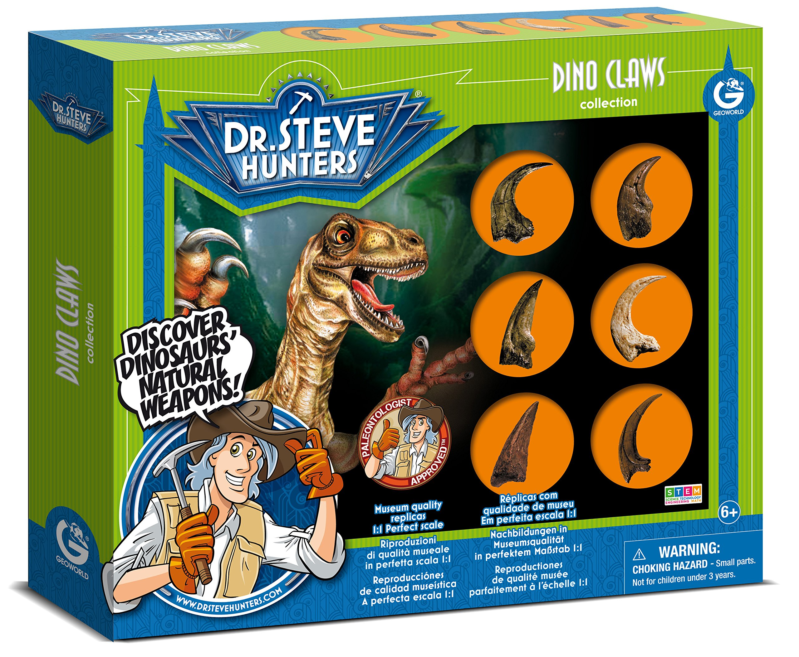 Uncle Milton Dr. Steve Hunters - Dino Claws Replica Collection 6 Piece Scientific Educational Toy