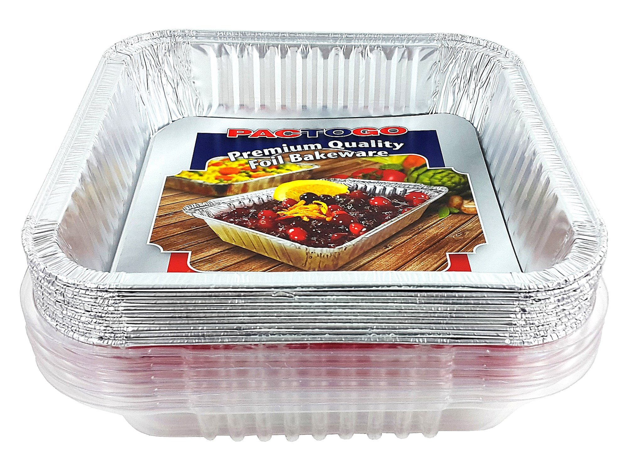 Pactogo Red Holiday Christmas Square Cake Aluminum Foil Pan w/Clear Dome Lid Disposable Baking Tins (Pack of 25 Sets) by PACTOGO (Image #6)