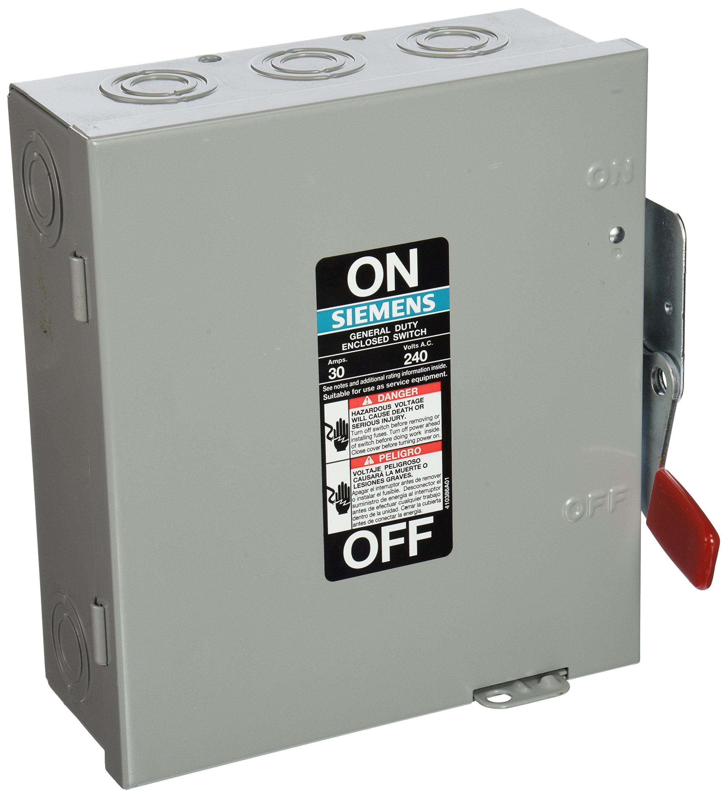 SIEMENS GF321N 30 Amp, 3 Pole, 240-Volt, Fused, W/N General Duty, Indoor Rated by Siemens