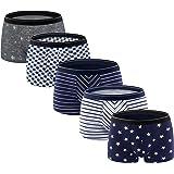 ADOLPH Men's Boxer Briefs 5 Pack No Ride-up Breathable Comfortable Cotton Sport Underwear
