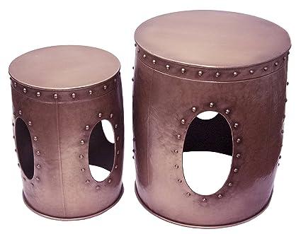 Sagebrook Home 11242 Metal Copper Barrel Tables Metal, 21 X 21 X 23.75  Inches (