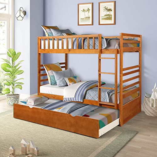 Bunk Beds for Kids, Over Twin Bed with Trundle, Wooden Twin Bed with Drawer and Safety Rail Ladder, Teens Bedroom Bed, Guest Room Furniture Oak