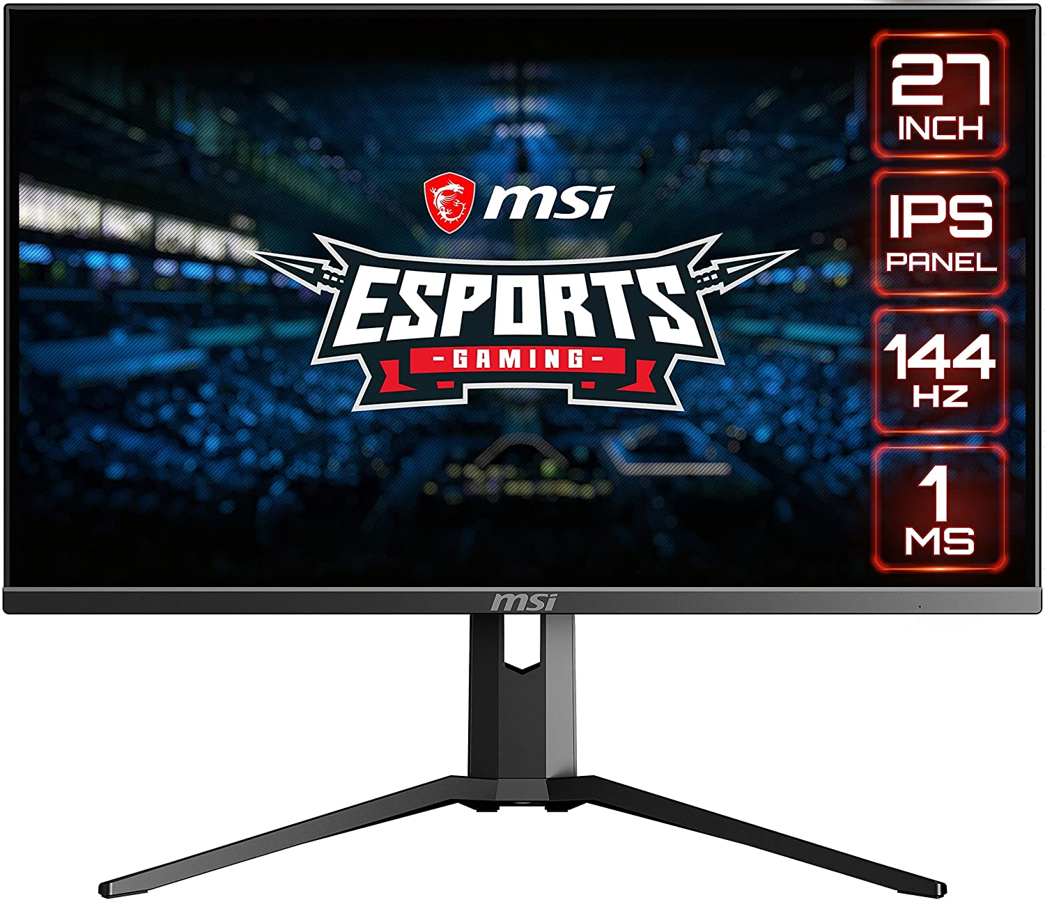 "MSI Full HD Gaming RGB Non-Glare Super Narrow Bezel 1ms 1920 x 1080 144Hz Refresh Rate Adjustable Height Arm FreeSync 27"" IPS Gaming Monitor (Optix MAG273R), Black (OPTIXMAG273R)"