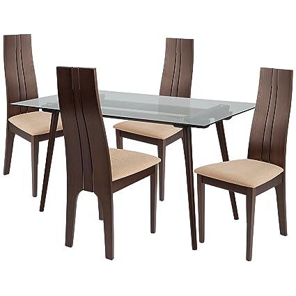Brilliant Amazon Com Flash Furniture Concord 5 Piece Espresso Wood Frankydiablos Diy Chair Ideas Frankydiabloscom