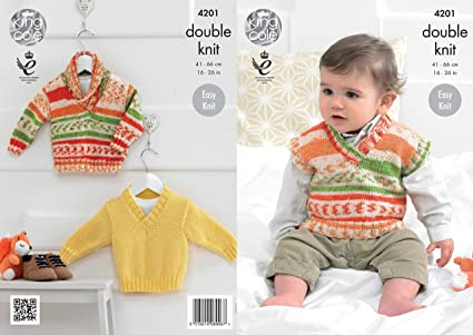 e83068994 King Cole 4201 Knitting Pattern Baby Boys Sweaters and Tank Top to ...