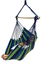 Hammock Sky Cotton Large Brazilian Hammock Chair (Blue and Green Stripes)