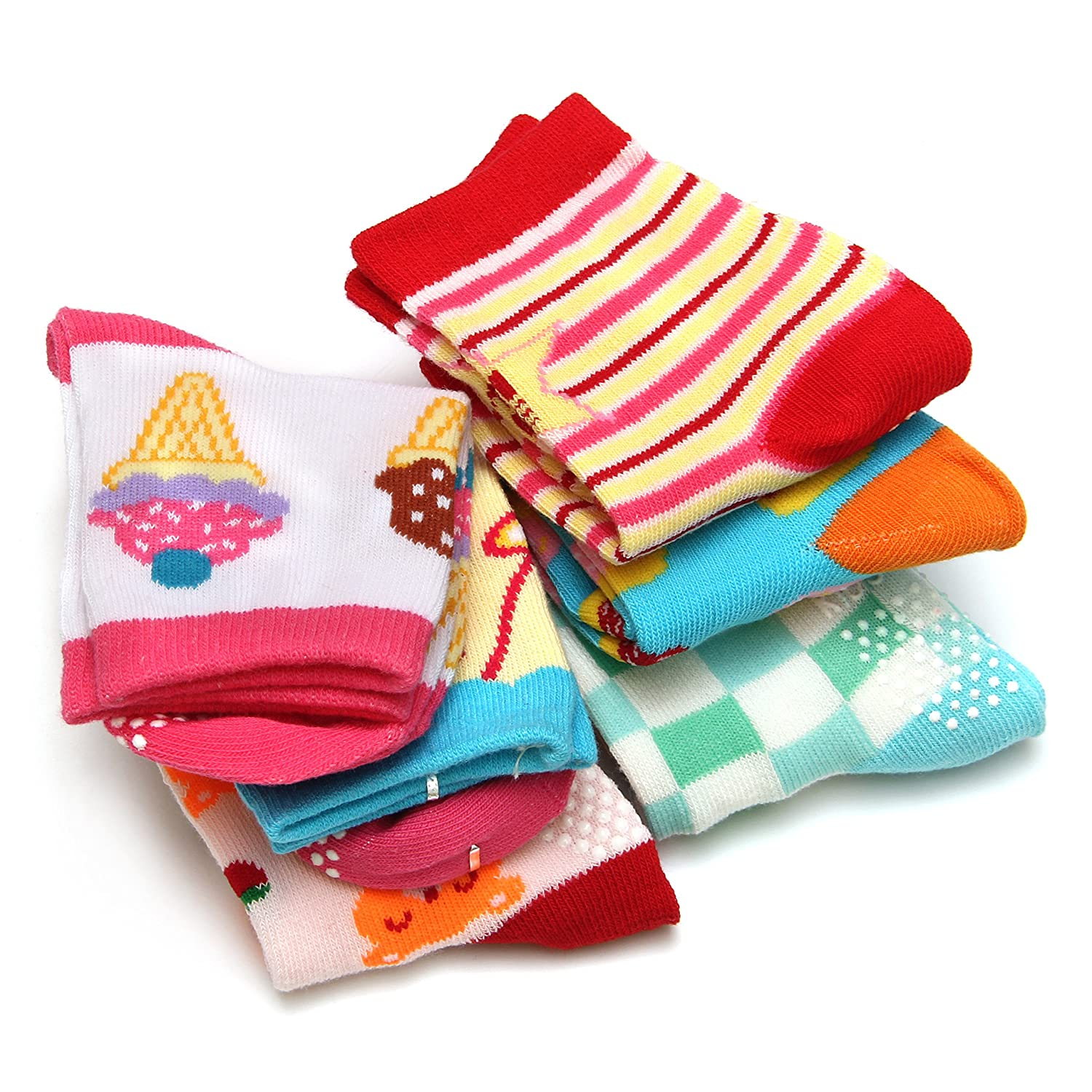 ShoppeWatch 12 Pairs Baby Toddler Socks with Grips Anti-Slip Non-Skid for Kids Babies Unisex 2T and 3T Walkers BBSK42G
