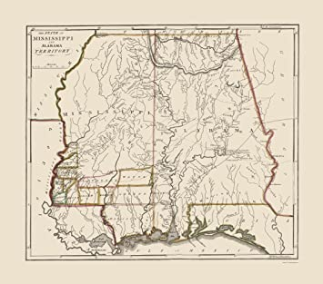 Amazon.com: Old State Map - Mississippi, Alabama Territory ...