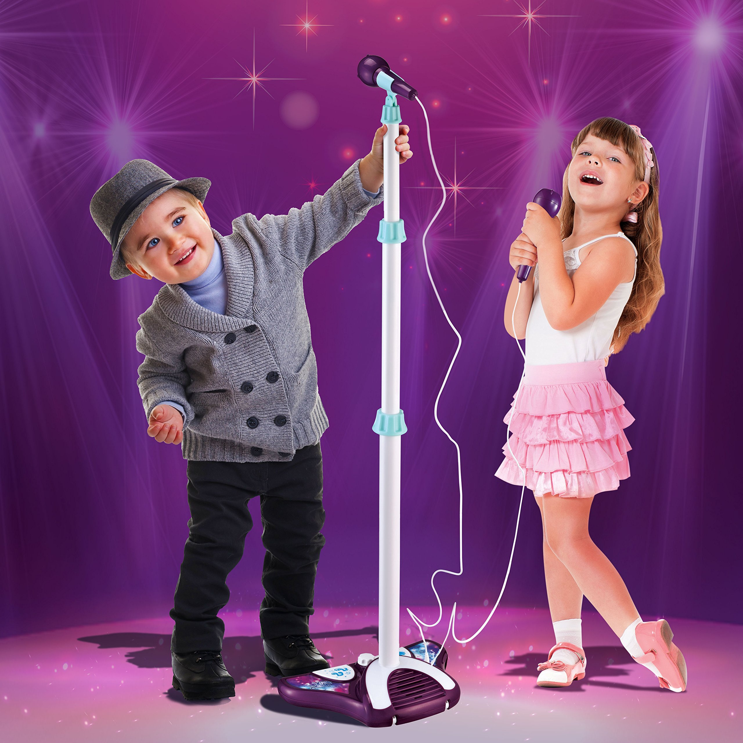 Little Pretender L P Kids Karaoke Machine with 2 Microphones and Adjustable Stand, Music Sing Along with Flashing Stage Lights and Pedals for Fun Musical Effects (Renewed) by ALMA (Image #2)