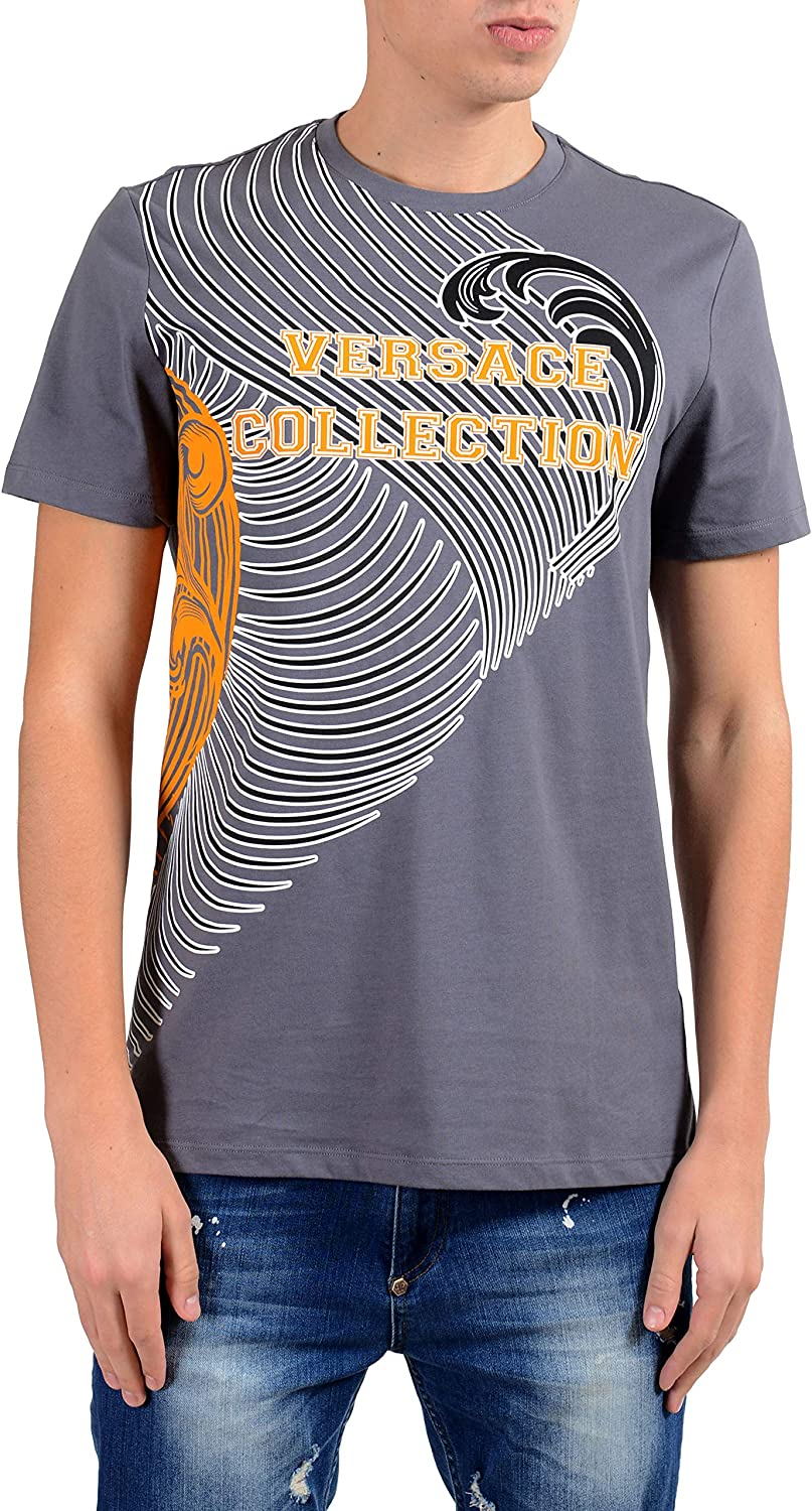 Versace Collection Mens Gray Graphic Short Sleeve Crewneck T-Shirt Size US M IT 50