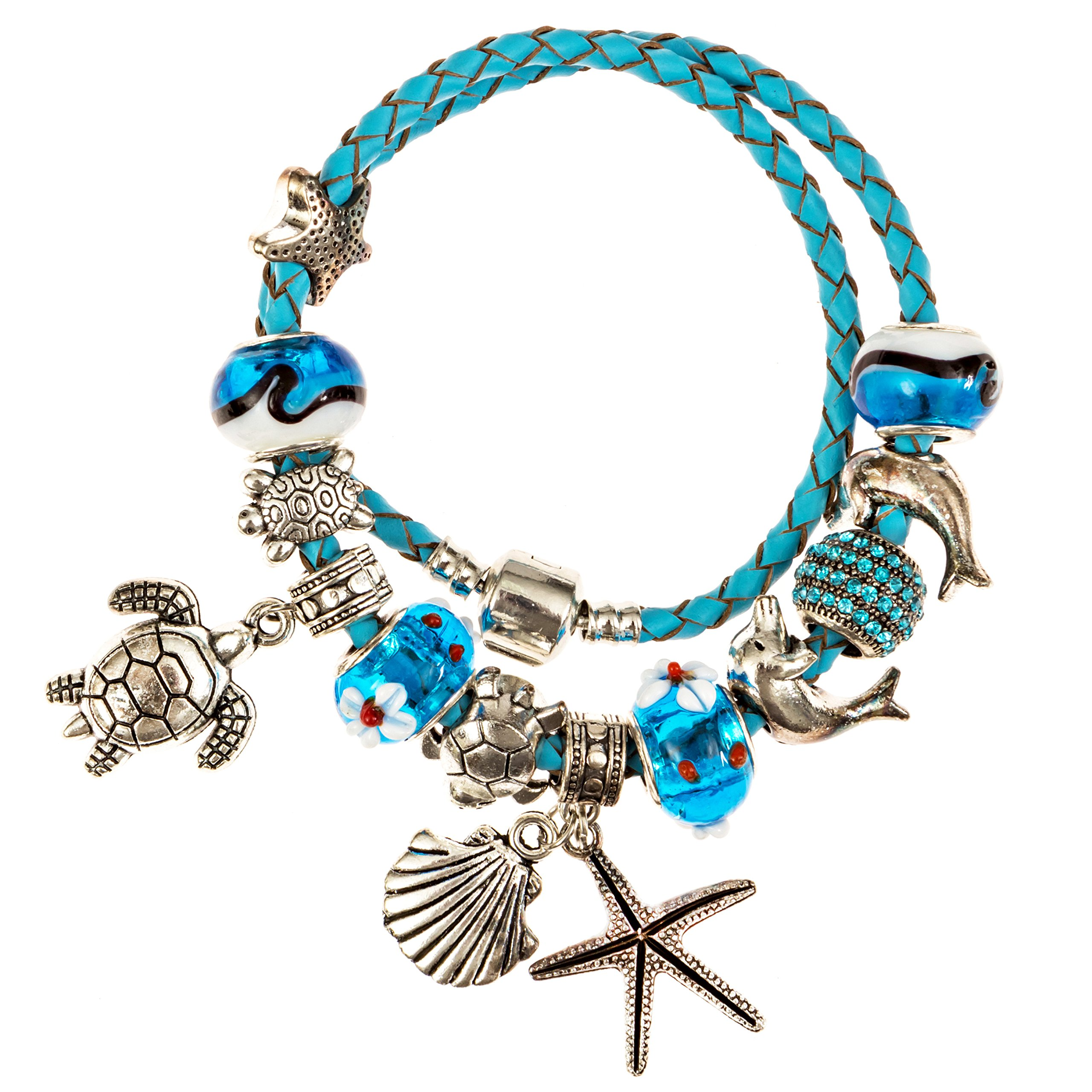 European Ocean Beach Charm Beaded Leather Wrap 7.5 Inch for Women and Teen Girls Turtle Starfish Seashell Dolphin Dangle Charms Aquamarine Murano Glass Beads Prime Quality Gift