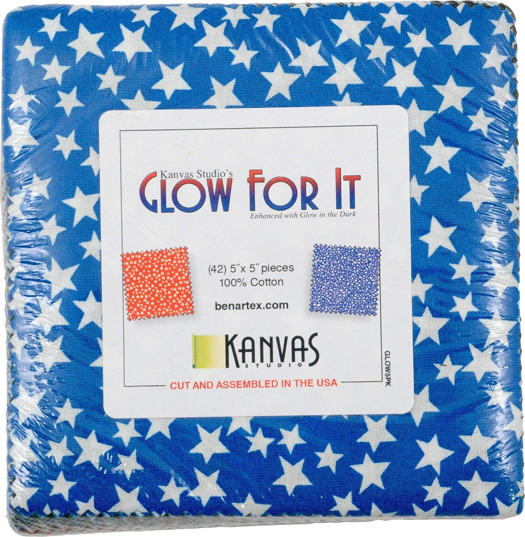 Kanvas Studio Glow for It 5X5 Pack 42 5-inch Squares Charm Pack Benartex