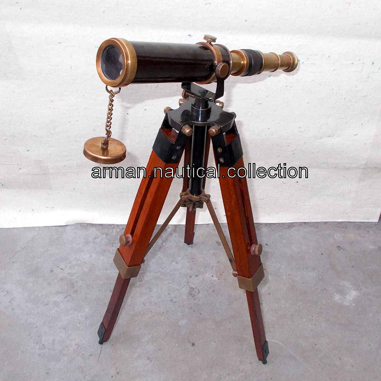 Marine Navy Nautical真鍮望遠鏡三脚スタンド付きハンドメイドヴィンテージSpyglass   B01MY1IZYP