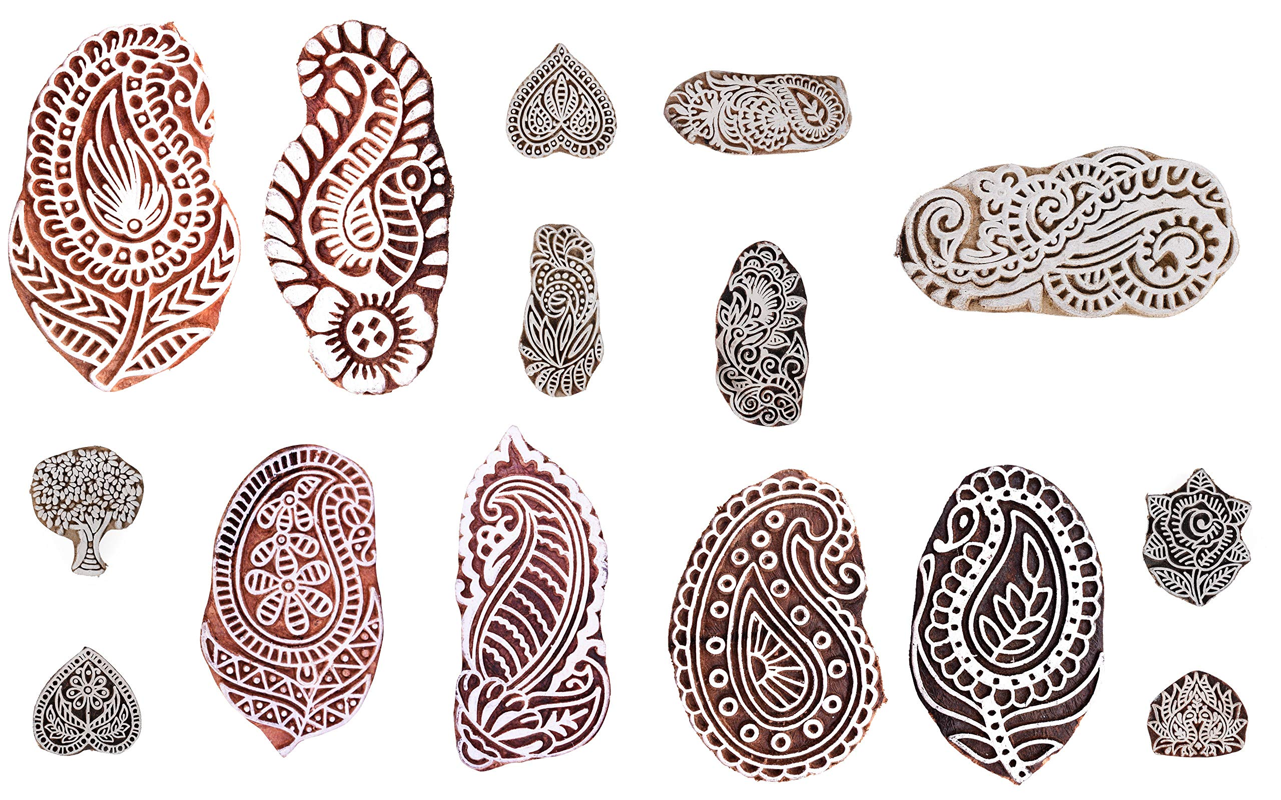 Handicraft-Palace Floral Paisley Designs Wooden Blocks Indian Hand Carved Printed Stamps Textile Hand Painting Wood Block Stamping (10 pc Set)