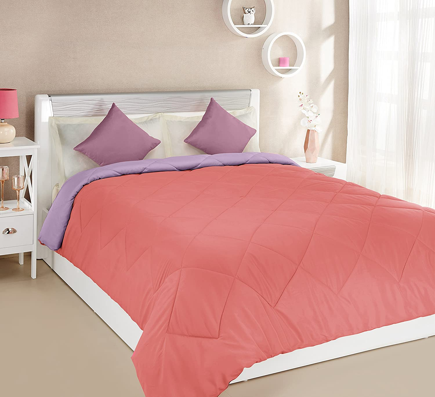 Solimo Microfibre Reversible Comforter, Double (Candy Pink and Bubble Gum Purple, 200 GSM)