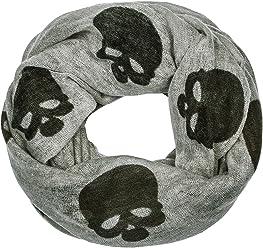 "SIX ""Gothic grauer Loop Schal mit schwarzen Totenköpfen, Skulls (356-879)"