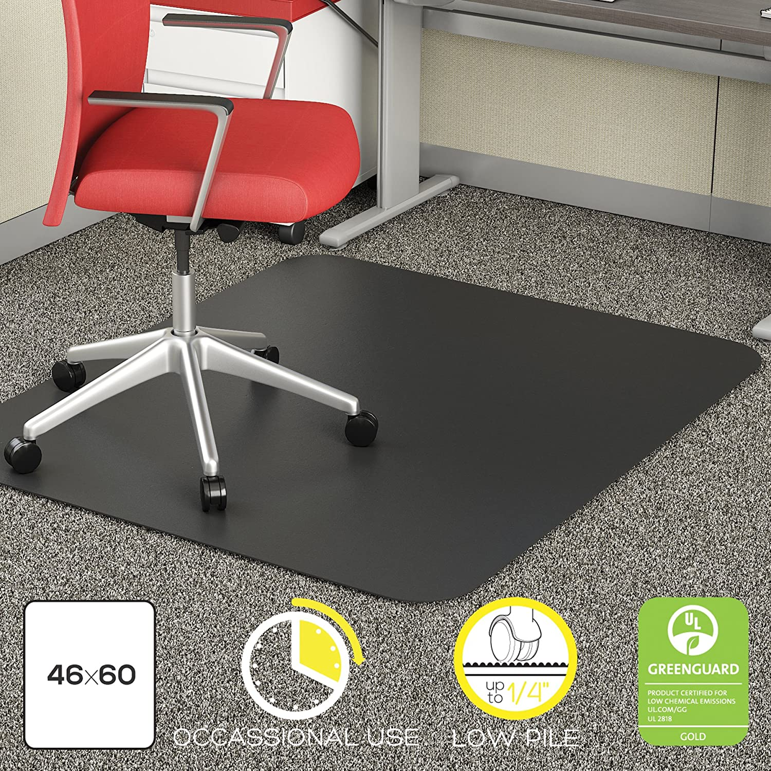amazon com deflecto economat black chair mat low pile carpet
