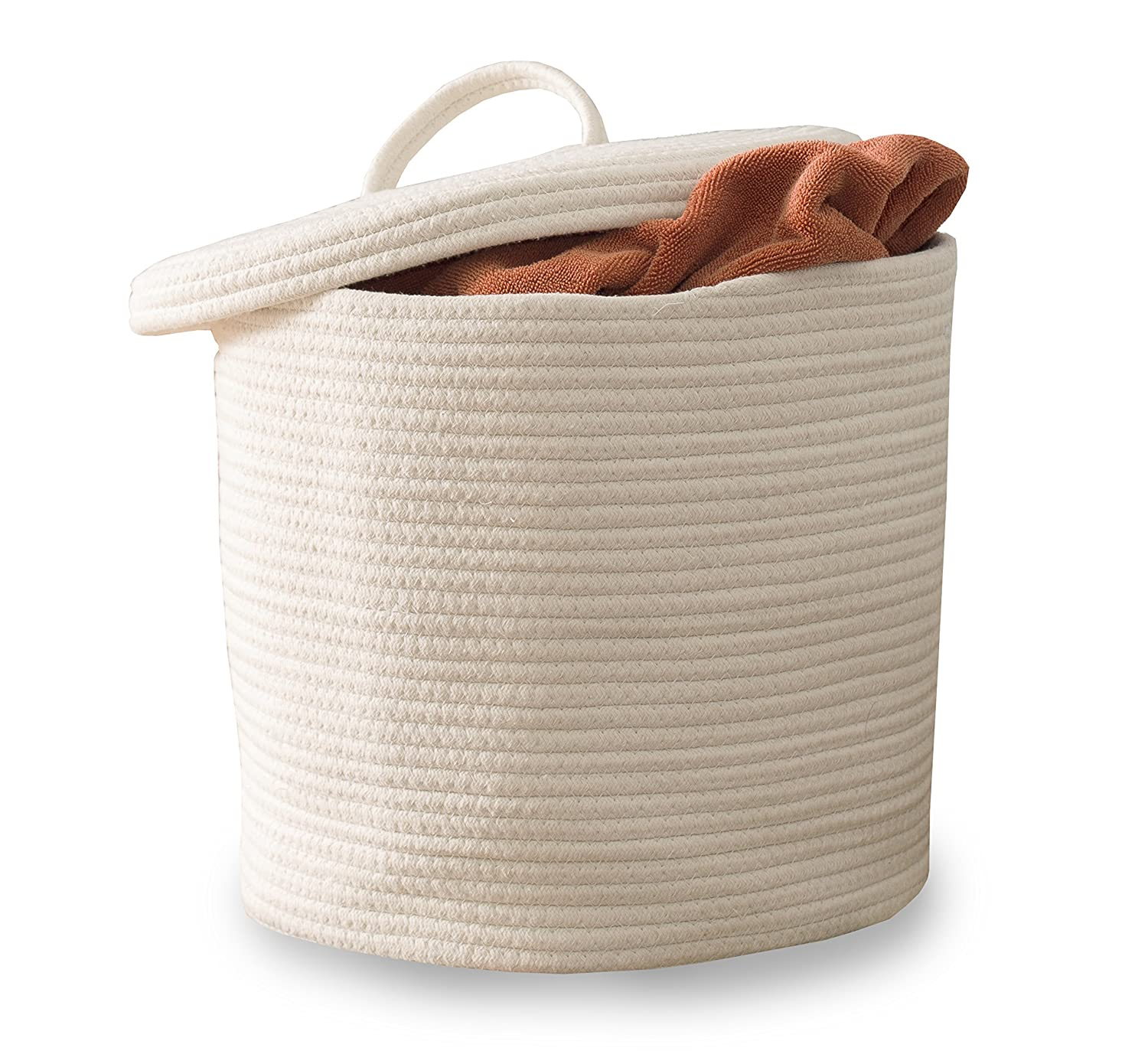 Vada Designs Storage Basket with Lid - Large Woven Cotton Rope Basket with Lid and Handles 15