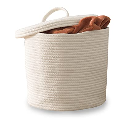 Vada Designs Storage Basket With Lid   Large Woven Cotton Rope Basket With  Lid And Handles
