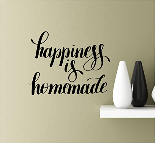 HAPPINESS IS HOMEMADE Rustic Farmhouse Home Wall Decal Words Decor Lettering