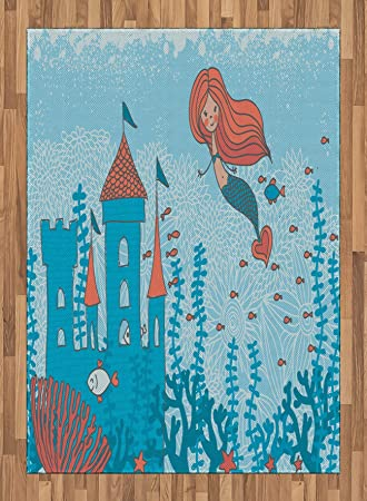 Mermaid Area Rug By Ambesonne, Art Of Little Mermaid Under The Sea In  Corals With