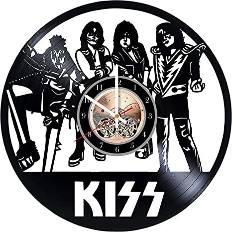 Amazon Com Kiss Rock Band Design Art Vinyl Record Wall Clock 12 Really The Most Original Gift For Him And Her Perfect Element Of The Interior And Amazing Home Decor Idea