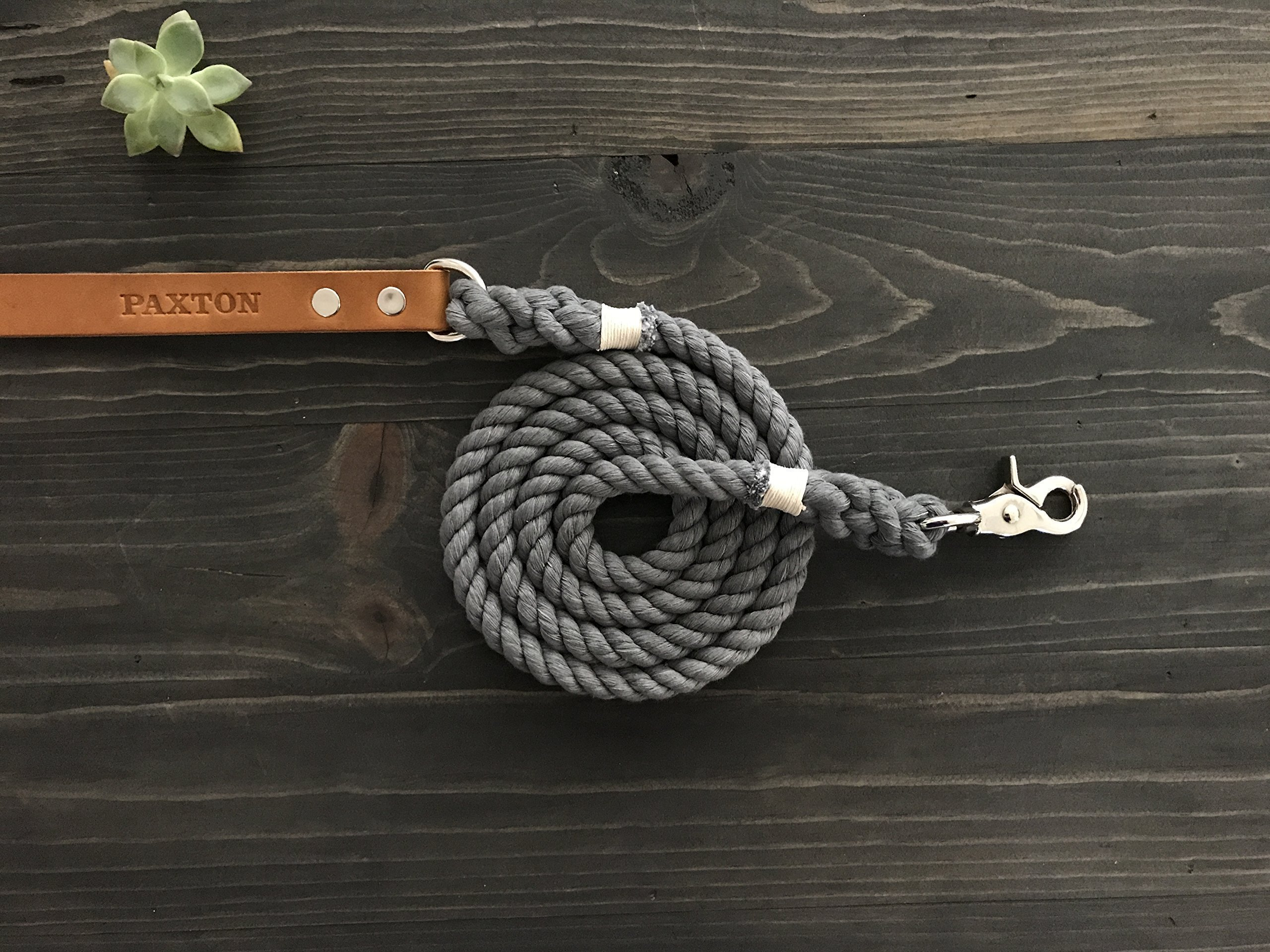 Single Color Rope Dog Leash with Leather Handle with FREE Personalization
