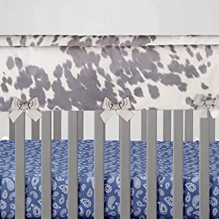 product image for Glenna Jean Baby Crib Convertible Short Rail Guard Protector & White Cow Animal Print Jungle for Baby Boys & Girls, Standard, Grey, (Pack of 2)