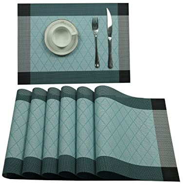 U'Artlines Placemat, Crossweave Woven Vinyl Non-Slip Insulation Placemat Washable Table Mats Set (6pcs placemats, L Blue)
