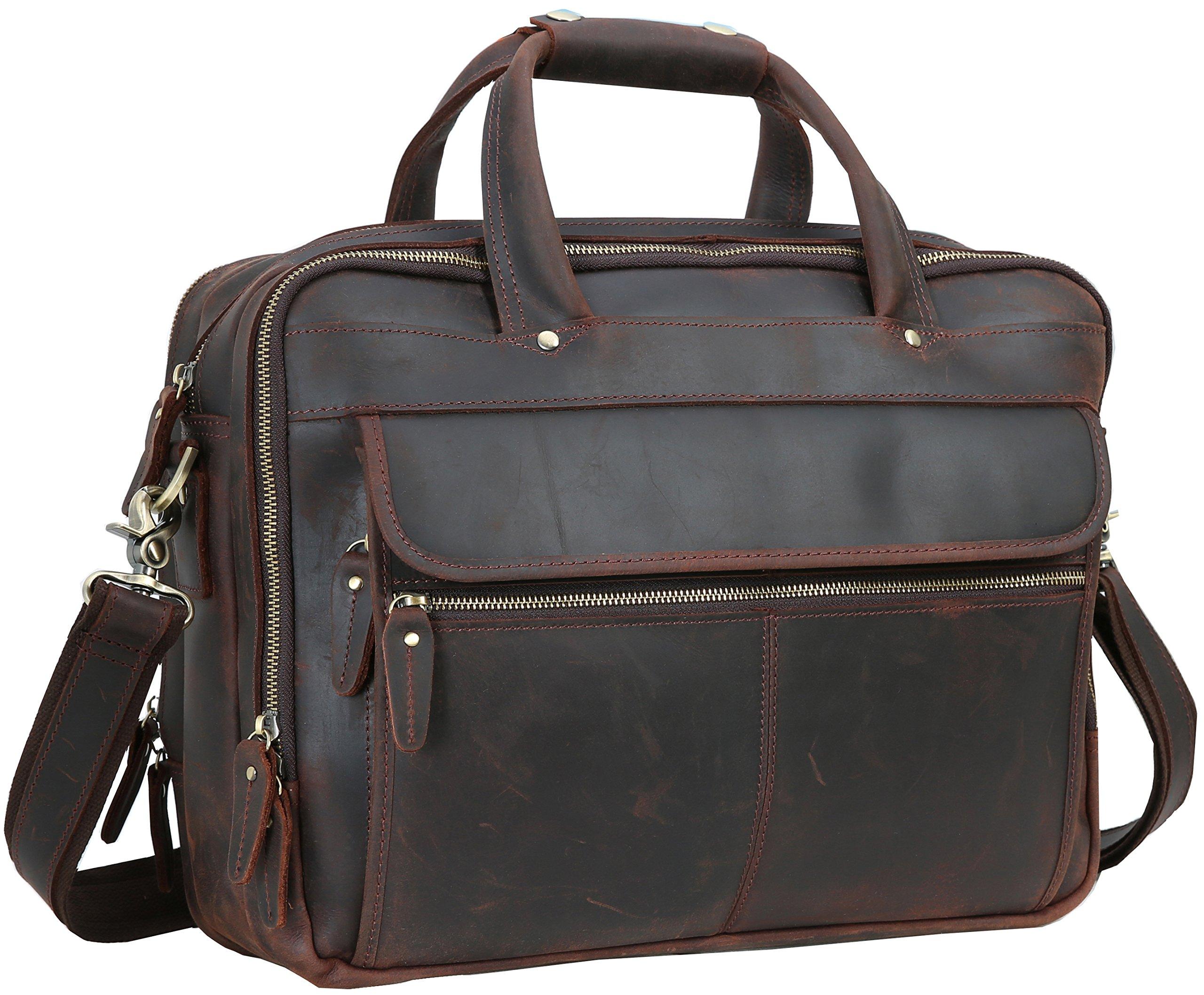 Iswee Men's Leather Vintage Style Messenger Bag Portfolio Briefcase Fit 2 Laptops Case 14'' 16'' Attach Case