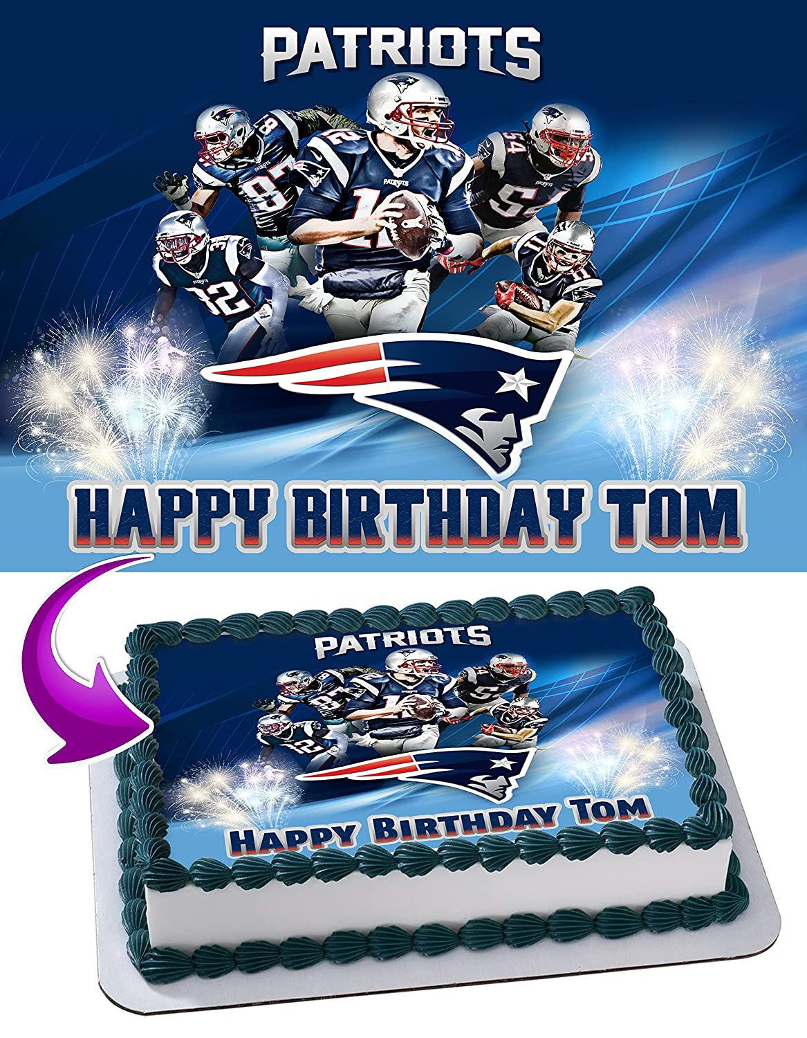 New England Patriots Edible Image Cake Topper Personalized Icing