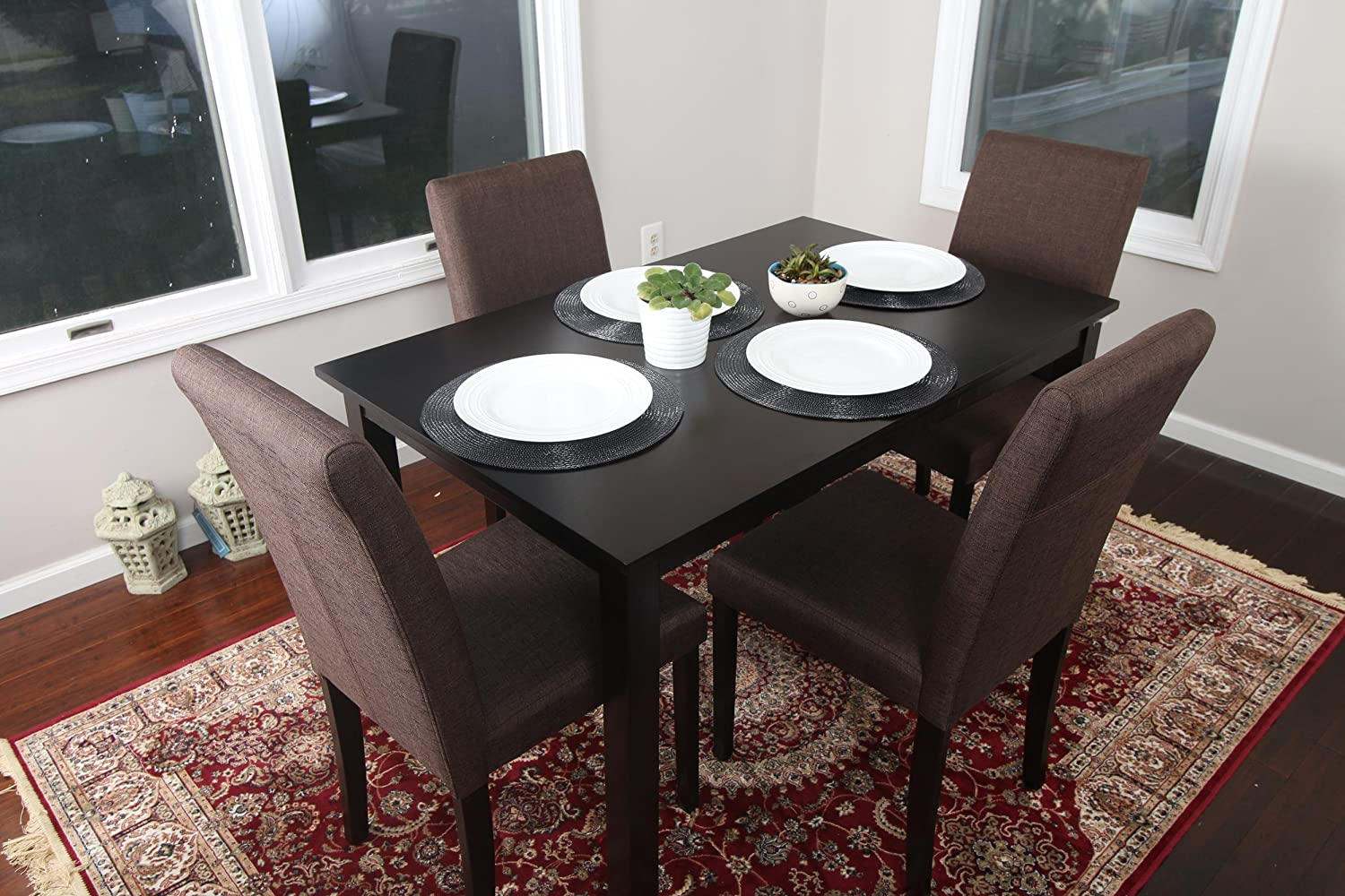 5 PC Chocolate Brown Canvas Linen 4 Person Table and Chairs Brown Dining Dinette - 150255 Chocolate Brown Parson