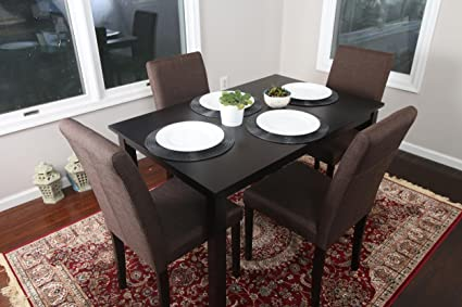 c2ab59e3796 5 PC Chocolate Brown Canvas Linen 4 Person Table and Chairs Brown Dining  Dinette - 150255