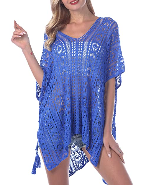 89791696b0 Azue Women's V-Neck Knitted Beach Dresses Solid Hollow Out Summer Swimwear  Bikini Cover ups