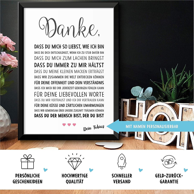 DANKE Liebe - schöne Liebeserklärung – Rahmen optional – Geschenk ...