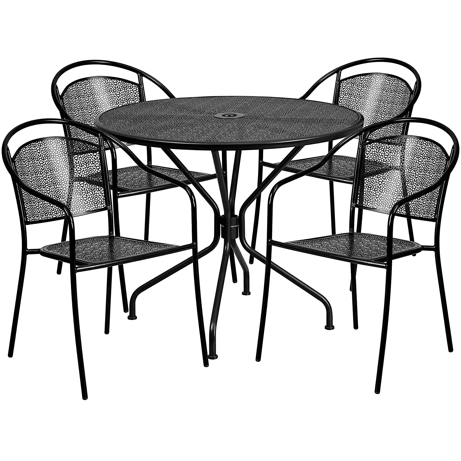 Flash Furniture 35.25 Round Black Indoor-Outdoor Steel Patio Table Set with 4 Round Back Chairs