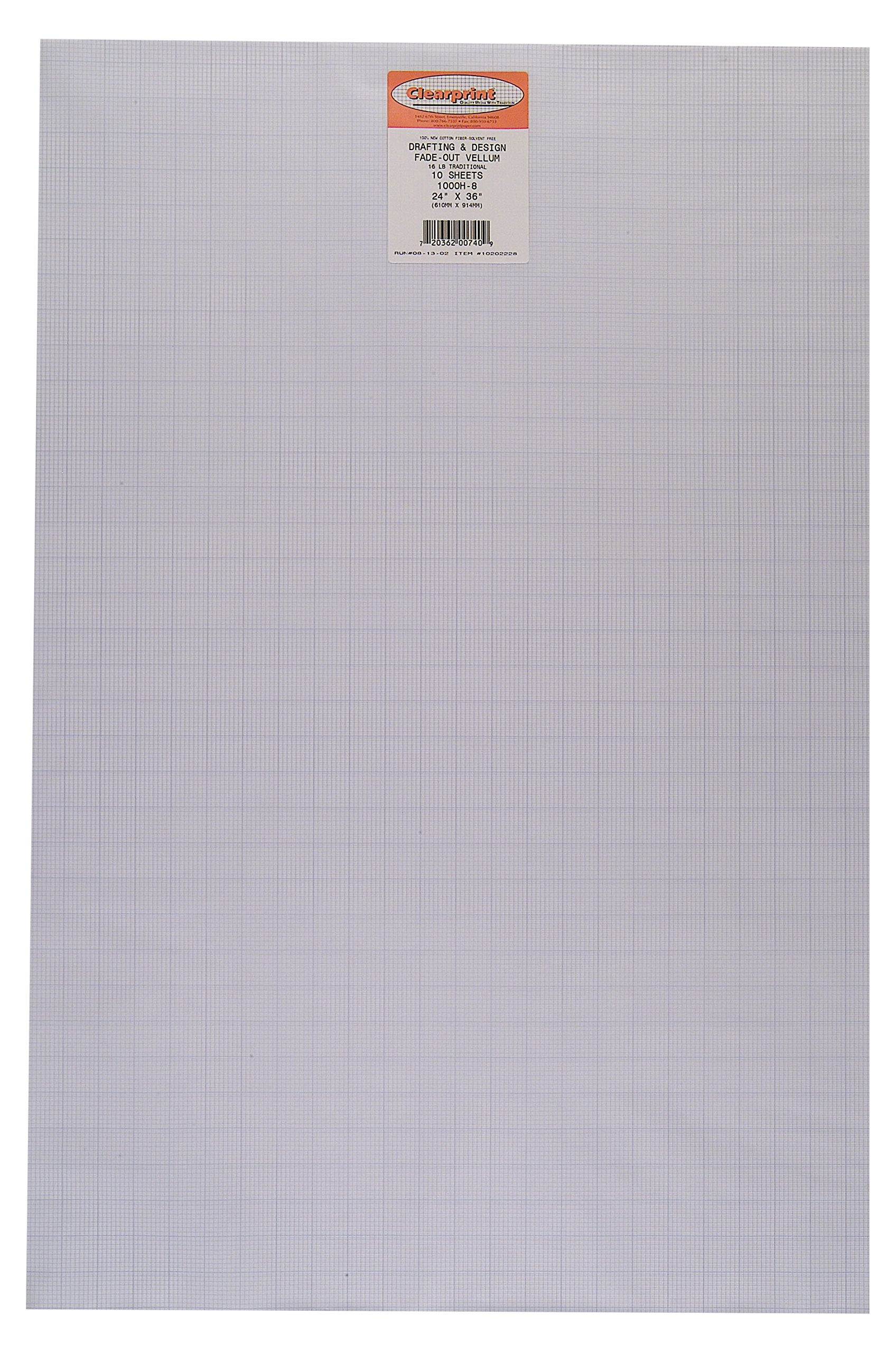 Clearprint 1000H Design Vellum Sheets with Printed Fade-Out 8x8 Grid, 16 lb, 100% Cotton, 24 x 36 Inches, 10 Sheets/Pack, Translucent White (10202228) by Clearprint
