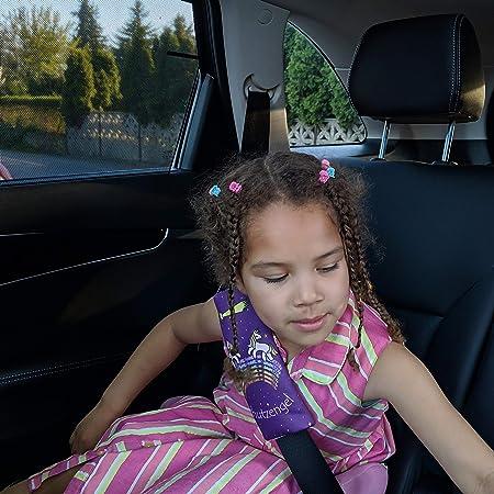 Tinalina 2x Gurtpolster Für Kinder Gurtschoner Für Kinder In Lila Für Mädchen Mit Einzigartigem Einhorn Tier Motiv Für Autogurt Babyschale Baby